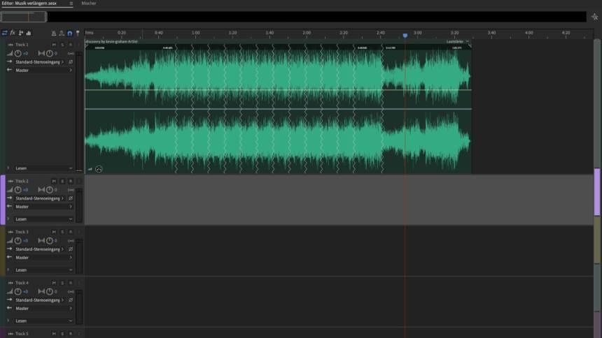 Waveform von verlängerter Musik in Adobe Audition